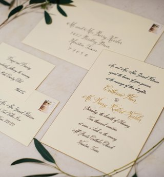 wedding-invitation-gold-and-black-calligraphy-invitation-suite-with-stamp-greenery-decorations