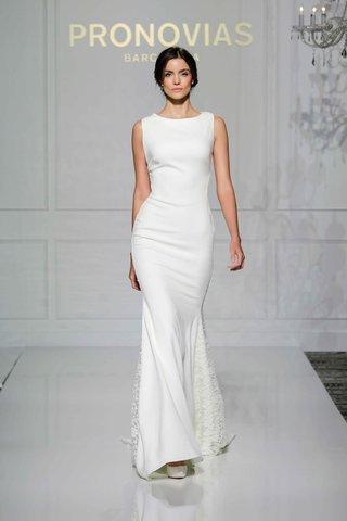 pronovias-2016-crepe-tank-wedding-dress-with-lace-on-sides