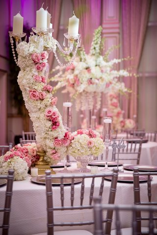 ashley-alexiss-wedding-reception-centerpiece-grey-silver-chairs-white-pink-flower-hydrangea-rose