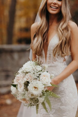 suzanna-villarreal-and-alex-wood-la-dodgers-wedding-bouquet-with-white-flowers-ferns-garden-rose