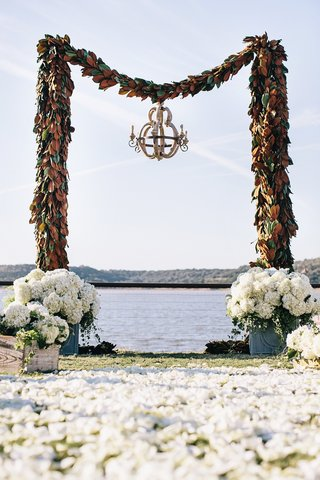 wedding-arch-with-magnolia-leaves