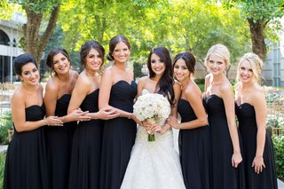 bride-trumpet-dress-big-white-pink-blush-bouquet-black-strapless-dresses-updos