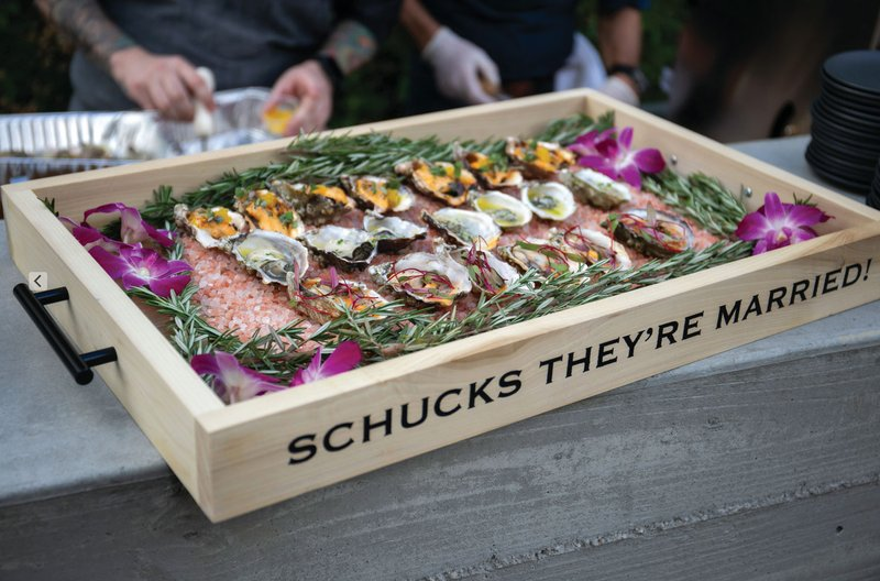 Custom Tray for Serving Oysters at Wedding