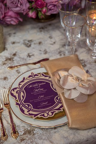 circular-purple-gold-menu-vine-designs-bold-feminine-wedding-styled-shoot-dinner-paper-product-regal