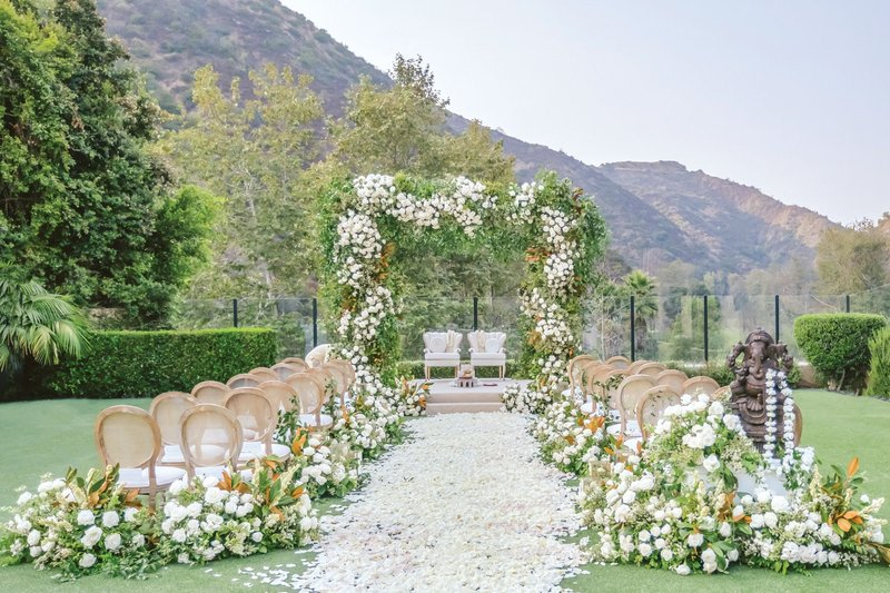 Outdoor Wedding Ceremony with Mountain View