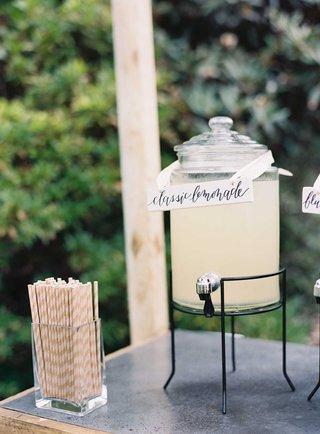 wedding-lemonade-stand-cocktail-hour-classic-lemonade-calligraphy-stripe-straws