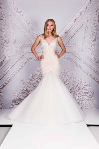 suzanne-neville-25th-anniversary-portrait-collection-2017-louceiro-trumpet-wedding-dress-straps-v