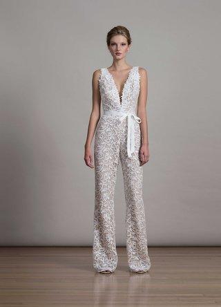 bridal-fashion-week-liancarlo-lace-jumpsuit-with-deep-v-neckline-ribbon-waist-style-6875