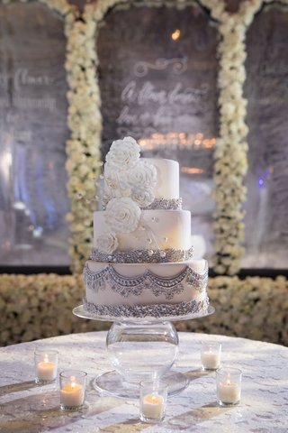 wedding-cake-three-layer-white-sugar-flower-silver-embellishments-beads-pearls