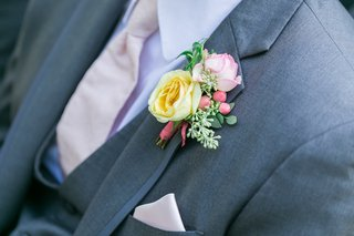 boutonniere-with-yellow-rose-pink-tinged-white-rose-greenery