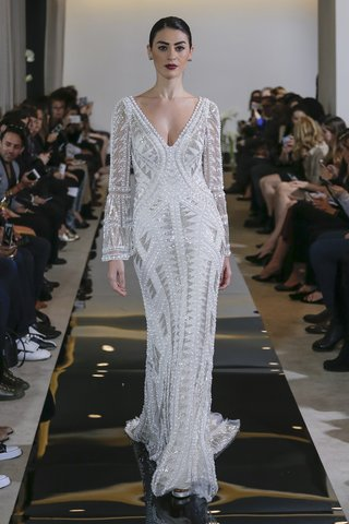 justin-alexander-spring-2018-geometric-pearl-and-bugle-beaded-gown-bell-sleeves