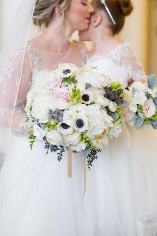 white-floral-bouquet-hints-blush-greenery-blue-north-carolina-wedding-arrangement-peonies-roses