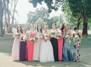 bride-with-not-matching-bridesmaids-in-ojai