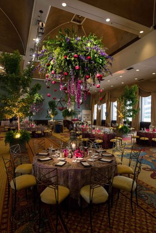 floral-chandelier-whimsical-magical-reception-forest-theme-wedding-reception-tablescape