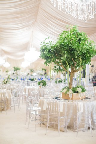 wedding-reception-drapery-chandelier-clear-chairs-gold-box-with-gold-tree-centerpiece-amaranthus