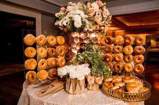 wedding-reception-rose-gold-flower-arrangement-bagel-bar-with-to-go-take-home-bags-wedding-favors