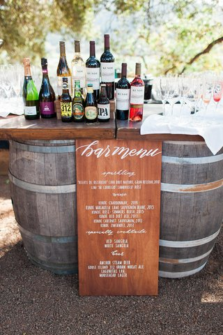 rustic-wooden-bar-menu-barrels-wine-whiskey-northern-california-winery-wedding-custom