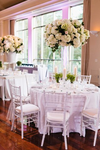 wedding-reception-with-white-decor-tall-hydrangea-flower-arrangement-potted-plants-mint-julep-cup