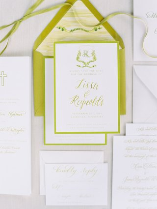wedding invitation green chartreuse save the date with ribbon and other paper goods
