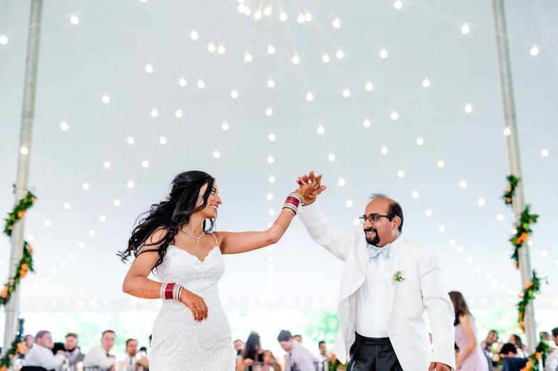 Bride Dancing with Dad at Tent Wedding