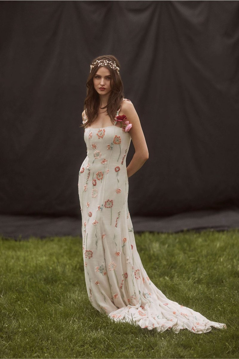 """Rowan"" Flower Embroidery Wedding Dress"