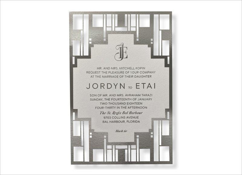 Geometric Monogram Wedding Invitation