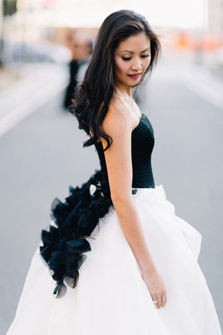 bride-in-black-and-white-dress-with-hair-down