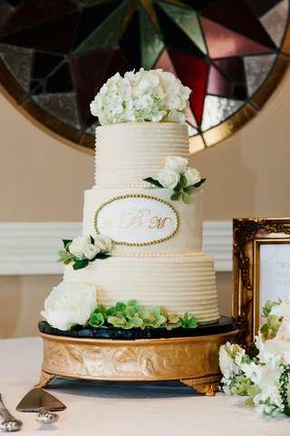 wedding-cake-with-monogram-on-center-tier-hydrangea-on-top-and-rose-on-other-tiers-peony-flowers