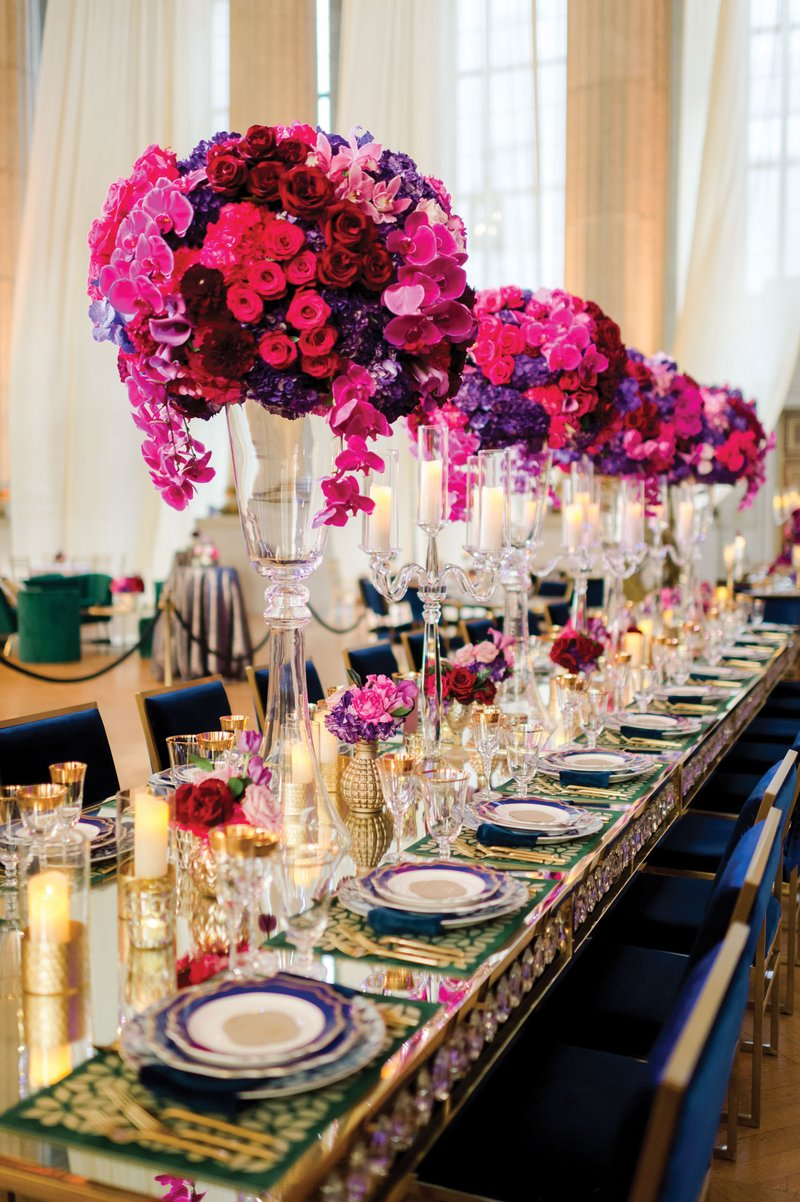 Colorful Reception with Long Table