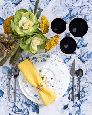 Maison de Carine Wedding Place Setting blue white and yellow