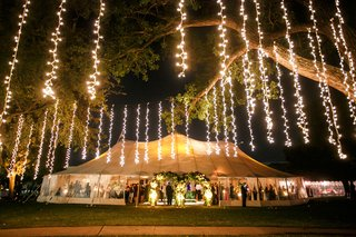 strings-of-twinkle-lights-hang-from-tree-outside-of-tented-reception