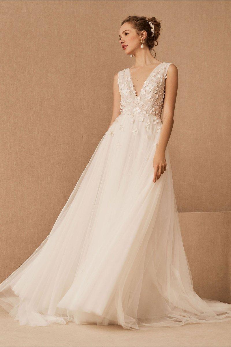 """Elena"" Floral Appliqué Wedding Dress"