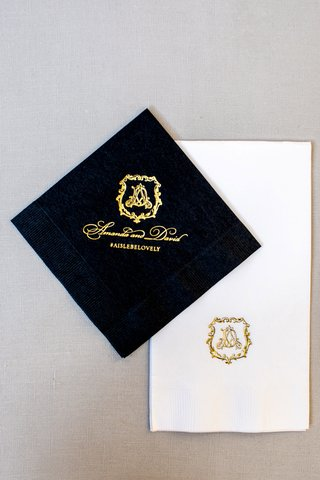 wedding napkins custom design black with gold foil beverage napkin and white with gold foil monogram