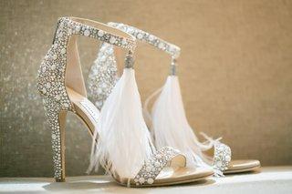viola jimmy choo feather high heels crystal embellishments ankle strap sandals wedding heels
