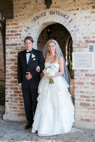 bride-in-a-strapless-hayley-paige-dress-with-tiered-skirt-veil-and-father-in-black-tuxedo