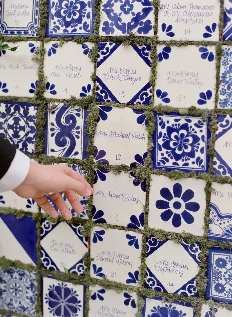 Blue & White Tile Escort Cards