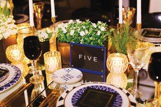 destination-wedding-table-number-blue-border-black-and-white-block-letters-mykonos-destination