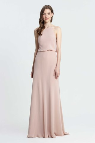 monique-lhuillier-bridesmaids-spring-2017-halter-bridesmaid-dress-blouse-bodice-high-neck-sheath