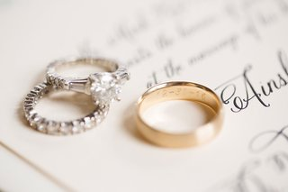 gold-wedding-ring-engraved-with-wedding-date-for-groom-diamond-band-and-engagement-ring-side-stones