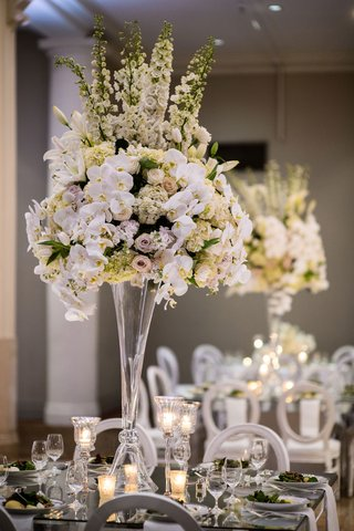 wedding-reception-centerpiece-tall-mirror-table-orchid-purple-lavender-rose-hydrangea-lily-flowers