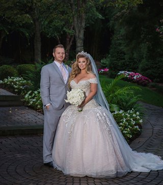 wedding-portrait-of-ashley-alexiss-and-travis-yohe-drop-waist-ball-gown-wedding-dress-tiara