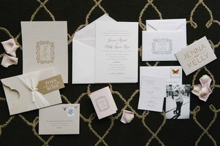 white-and-gold-wedding-invitation-suite-black-and-white-photo-save-the-date-gold-monogram