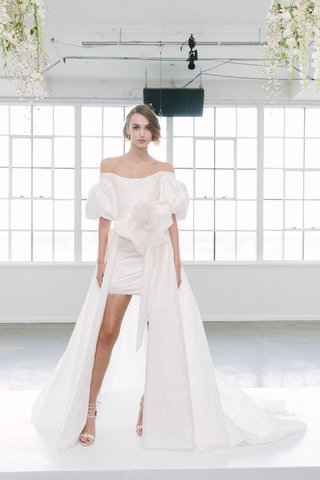 marchesa-bridal-fall-2018-collection-wedding-dress-short-bridal-gown-overskirt-puffy-sleeves-flower