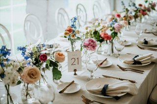 A Charming Fete Bud Vases on Table colorful wedding reception