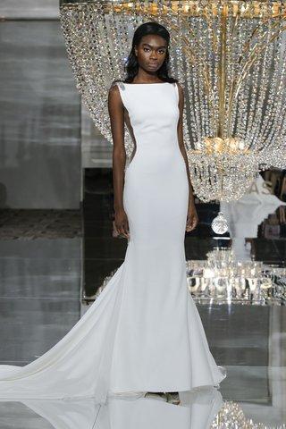 pronovias-fall-2018-simple-bateau-mermaid-wedding-dress-side-illusions