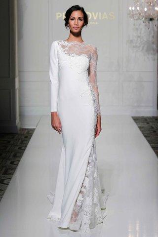 pronovias-2016-asymmetrical-long-sleeve-wedding-dress-with-sheer-lace-neckline-and-sleeve
