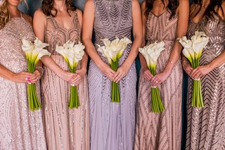bridesmaid-bouquets-of-calla-lilies-adrianna-pappell-sequin-bridesmaid-dresses