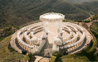 malibu rocky oaks vineyard estate wedding ceremony view of ocean and santa monica mountains wedding