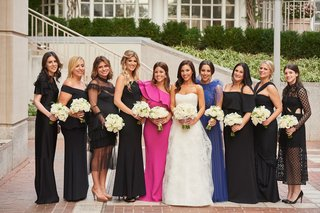 bride-in-strapless-wedding-dress-with-maids-of-honor-in-pink-and-blue-dresses-black-dresses-choice