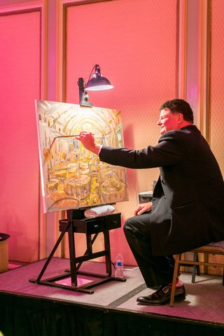 vow-renewal-anniversary-party-with-live-event-painter-painting-picture-of-ballroom-tables-on-stage